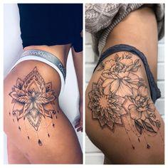 Flower Hip Tattoos, Hip Thigh Tattoos, Floral Thigh Tattoos, Leg Tattoos Women, Cute Tattoos For Women, Dope Tattoos, Pretty Tattoos, Bum Tattoo Women, Tatoos