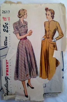 Simplicity 2617 Vintage 1940s Womens Sewing by Sutlerssundries, $17.99