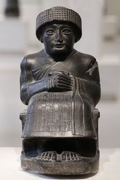 Statues of Gudea -  Diorite Statue I, now in the Louvre.