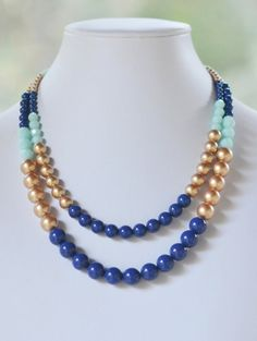 Double Strand Statement Necklace in Lapis Blue