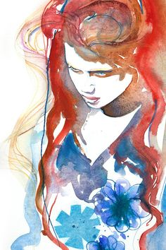 Print of Watercolor Fashion Illustration. Titled - Amber via Etsy