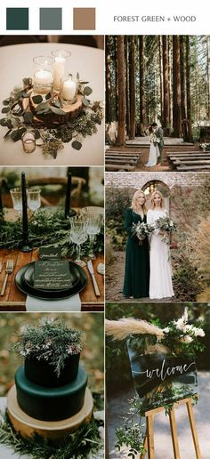forest green and wood rustic green wedding colors wedding theme Top 10 Fall Wedding Color Scheme Ideas for 2020 Trends Rustic Wedding Colors, Winter Wedding Colors, Spring Wedding, Rustic Weddings, Fairytale Weddings, Unique Weddings, Winter Weddings, Blue Weddings, Emerald Wedding Colors