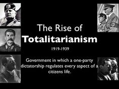 rise of totalitarianism This explanation of the origins of totalitarianism also fails to account for the rise of totalitarianism in some countries, say, germany and russia, and its absence.