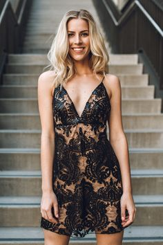 Trendy Dresses, Formal Dresses, Edgy Look, Personal Stylist, Holiday Dresses, Girls Night Out, Lace Detail, Lace Dress, Sequins