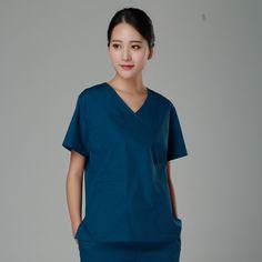 abdd880c1b1 New 2017 V neck women hospital medical scrub clothes uniform dental clinic  beauty salon working uniform cotton Top quality