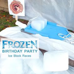 These Disney Frozen DIY Sleds for Ice Block Races were a huge hit with the boys and girls at our Frozen Birthday Party and we have all the directions here.