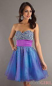 Buy Strapless Blue Short Dress at PromGirl