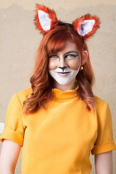 Halloween Fox Makeup, 2015 Halloween, Fox Halloween Makeup, Fox Makeup Halloween, Roald Dahl Costumes, Ears, Fantastic, Diy, Fox Halloween Costume