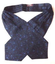 VINTAGE SAMMY DAY CRAVAT ASCOT Dark Blue with Black Swirl Design DICEL FREE P&P #Sammy #Cravat