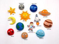 SPACE for kids, SOLAR SYSTEM felt fridge magnets - price per 1 item - pick your items Space,Sun,Moon, Earth,Saturn,Venus,Star,Jupiter,Mars