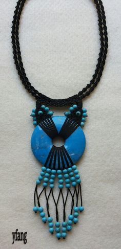 Turquoise in black macrame necklace