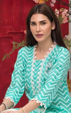 Description cotton net chevron self printed shirt, lace and handwork on neckline Lace on sleeves and scalloped hemline with pearls. Stylish Kurtis Design, Stylish Dress Designs, Designs For Dresses, Neck Designs For Suits, Neckline Designs, Dress Neck Designs, Pakistani Fashion Casual, Indian Fashion Dresses, Pakistani Dress Design