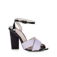 Faith Lilac leather block heel high sandals- at Debenhams.com Too high of course.