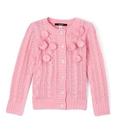 This Prism Pink Pom-Pom Button-Up Cardigan - Girls is perfect! #zulilyfinds