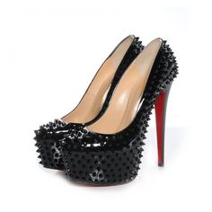 CHRISTIAN LOUBOUTIN Patent Daffodile Spikes 160 Pumps 40 Black found on Polyvore