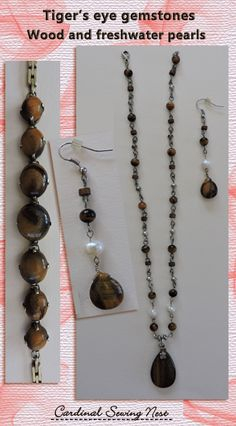 Bespoke earrings and necklace set Tiger's eye gemstone, wood and fresh water pearls