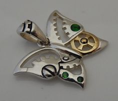 Steampunk Butterfly Pendant .925 Sterling Silver - Victorian Fantasy Steampunk Mariposa pendant with emerald green crystals