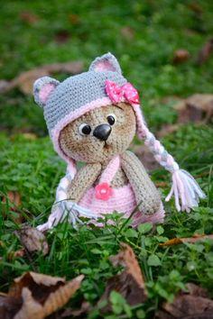 Crochet PATTERN Bear in hat by magicfilament on Etsy