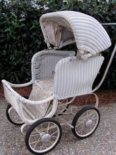 victorian baby strollers   Antique Vtg White Wicker Victorian Baby Buggy Stroller Pram   eBay