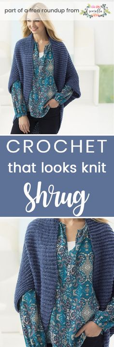 Crochet this easy cocoon shrug cardigan sweater from my crochet accessories free pattern roundup!
