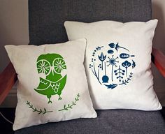 happy owl http://www.whatkatiedoes.net/2012/05/screenprinted-cushions.html