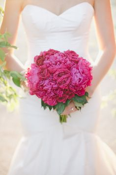 Fuchsia Wedding Bouquet -- On Style Me Pretty: http://www.StyleMePretty.com/southwest-weddings/2014/02/17/tuscan-wedding-inspiration-at-the-vineyard-at-florence/ Caroline Joy Photography