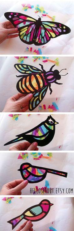 Projekt-Kinder Craft Schmetterling Glasmalerei Suncatcher Kit mit Vögel, Bienen, mit Tissue-Papier, Kunsthandwerk-Kids-Aktivität,: