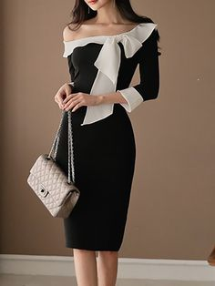 Shop Midi Dresses - Black Bow Sheath Statement Dress online. Discover unique designers fashion at StyleWe.com.
