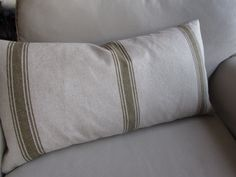 FRENCH LAUNDRY Pillow Green Stripes 13x26 insert by yiayias, $60.00