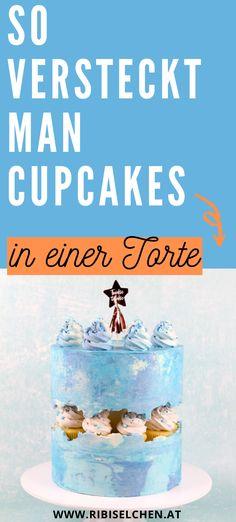 Wolltest du immer schon mal wissen, wie man diese Torten macht, in denen Cupcakes oder Macarons versteckt sind? Im Beitrag erfährst du, wie's geht! #ribiselchen #faultlinecake #faultlinetorte #torte Mini Cupcakes, Cake Pops, Pause, Partys, Cake Tutorial, Macarons, Line, Modern, Food