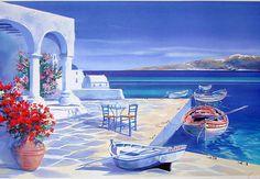 Santorini | ... Savy | French Landscape painter | Santorini Walkway - Greek islands