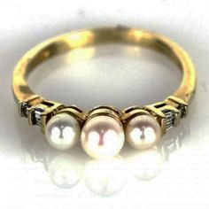 """""""The Paloma"""" Stunning 3 Pearl Center Ring with Surrounding Diamonds"""
