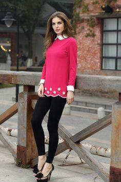 Sweet Babydoll Collar Women's Long Sleeve T-shirt With Pearl Embelished Hem