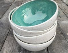 gift handmade ceramic bowl set of 4 serving soup salad bowl in speckled white and turquoise glaze