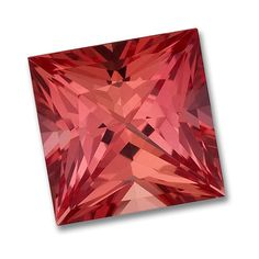 8x8mm Princess Cut Gem Quality Chatham-Created Cultured Padparadscha Orange Sapphire Weighs 2.97-3.63 Ct.