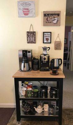 Coffee Bar Station, Coffee Station Kitchen, Coffee Bars In Kitchen, Coffee Bar Home, Home Coffee Stations, Kitchen Small, Kitchen Corner, Tea Station, House Coffee
