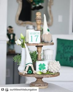 Patrick's Tiered Tray Signs St Patrick's Day Decorations, Quince Decorations, Tray Styling, Easter Season, Tiered Stand, Party Centerpieces, Tray Decor, St Patricks Day, Saint Patricks