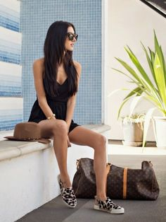 black romper with espadrilles