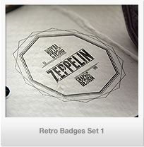 Retro Badges Set 2   AI, EPS and PSD editable files.   The set contains 25 badges, each badge having 2 versions as seen in the presentation.   Easy to m...