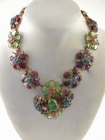 Vintage Exceptional Chanel Gripoix Poured Glass Flower Necklace