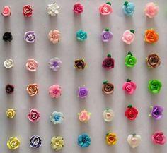 Fimo Flower Beads - China Bead, Flower B Cute Polymer Clay, Polymer Clay Flowers, Polymer Clay Projects, Polymer Clay Charms, Polymer Clay Creations, Polymer Clay Earrings, Clay Crafts, Fimo Clay, Clay Miniatures