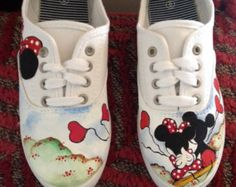 Hand painted Mickey and Minnie mouse shoes