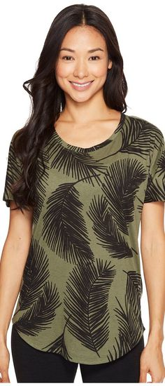 Lucy Final Rep Printed Short Sleeve (Rich Olive Palm Print) Women's Clothing - Lucy, Final Rep Printed Short Sleeve, LU0A377A5RV, Apparel Top General, Top, Top, Apparel, Clothes Clothing, Gift, - Street Fashion And Style Ideas