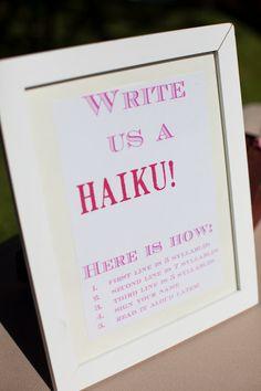 love this idea as a guestbook alternative.  and love haikus! (via @Karen Darling Me Pretty)