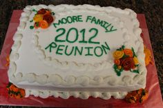 Family Reunion This cake was made for our family reunion in the fall. French Vanilla with buttercream icing and fondant accents. Family Reunion Cakes, Buttercream Icing, French Vanilla, Fondant, Cake Decorating, Tips, Desserts, Food, Tailgate Desserts