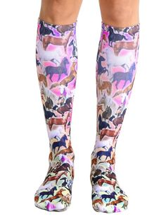 """*WE LOVE HORSES! *UNISEX *100% POLYESTER *MADE IN THE USA *ONE SIZE FITS MOST *WOMEN'S SHOE SIZE 4-12 *MENS SHOE SIZE 6-13 *20"""" L X 4"""" W"""