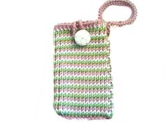 Pink Green & White Striped s3 Phone Pouch with by KnitBlossom, $12.00