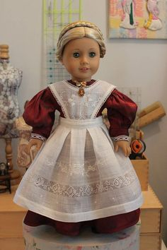 Victorian Style Dress in Iridescent Red Dupioni Silk with Hand Embroidered Full Apron for 18 Inch Doll, C240