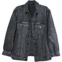 Alexander Wang Daze Grey Denim Jacket (7,960 MXN) ❤ liked on Polyvore featuring outerwear, jackets, tops, denim jackets, gray jean jacket, grey jacket, jean jacket, denim jacket and gray jacket