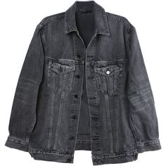 Alexander Wang Daze Grey Denim Jacket (570 CAD) ❤ liked on Polyvore featuring outerwear, jackets, tops, coats, grey jacket, denim jacket, jean jacket, gray jacket and grey jean jacket